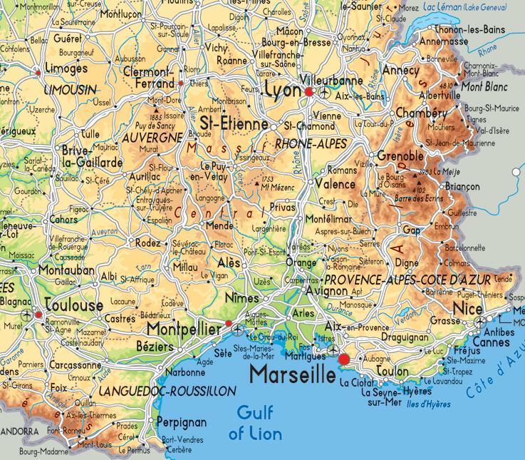 Carte Europe Du Sud Est.Sud Est De La France Carte Carte De La France Du Sud Est Europe