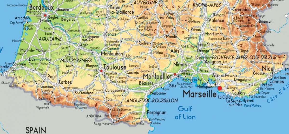 Au sud de la carte de France - Sud France carte détaillée ...